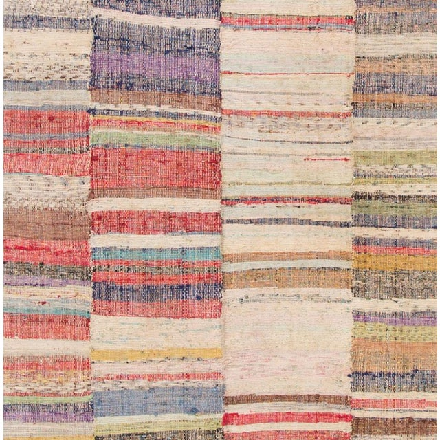 "Apadana - Vintage Multicolored Striped Turkish Flatweave Carpet, 4'10"" x 9'2"" For Sale - Image 4 of 5"