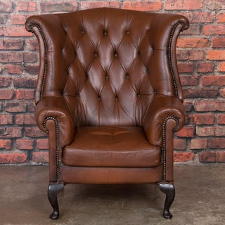 Early 20th Century Danish Brown Leather Wing Back Chair Preview