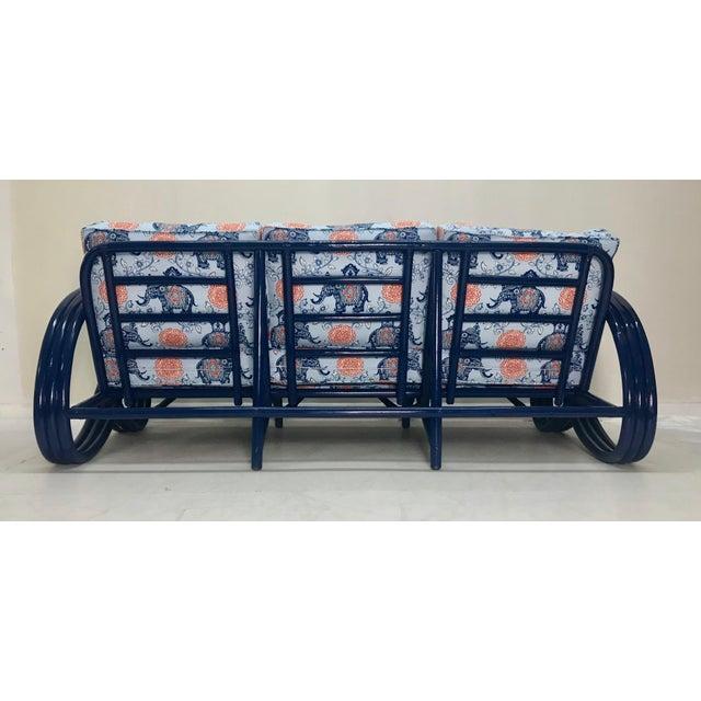 Vintage Navy Pretzel Rattan Sofa For Sale - Image 4 of 7