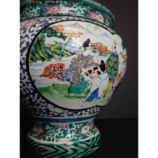 Ceramic Japanese Porcelain Vase With Dragon Handles For Sale - Image 7 of 12
