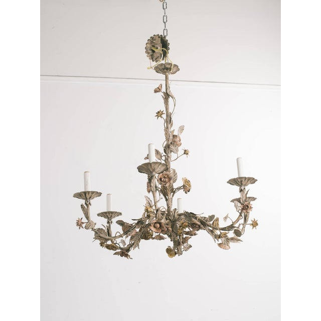 Italian 1960s Italian Tole Floral Chandelier For Sale - Image 3 of 9