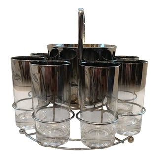 1960's Vintage Dorothy Thorpe Ice Bucket & Glasses- Set of 10 For Sale