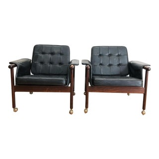 "1960s Vintage Illum Wikkelsø Rosewood and Leather ""Wiki"" Chairs- A Pair For Sale"