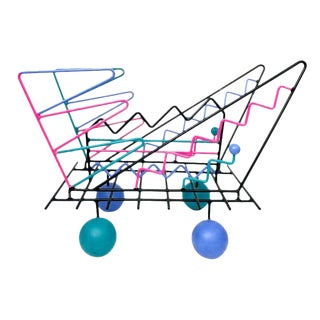 1980s PostModern Rare ZigZag Thick Wire Magazine Rack Holder Ettore Sottsass & Peter Shire Era For Sale