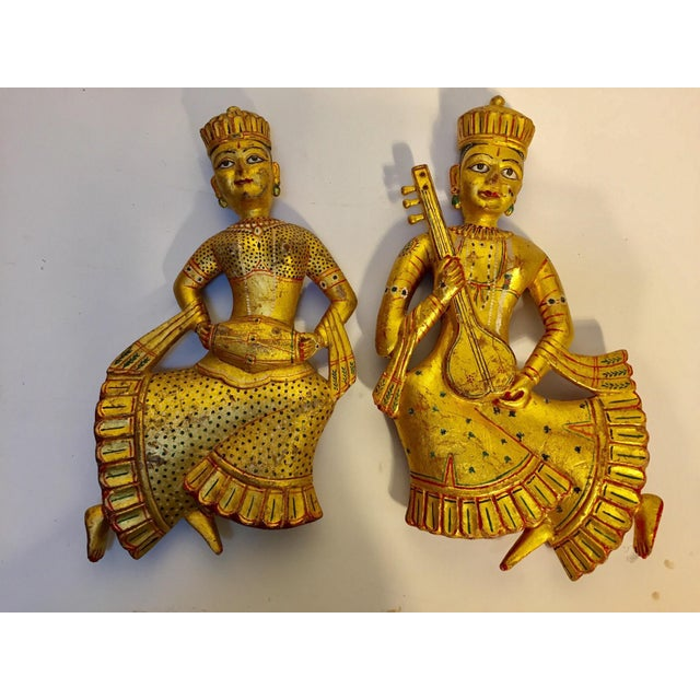 1950s Vintage Indian Carved Wood Rajasthani Female Musicians Sculptures - a Pair For Sale - Image 5 of 12