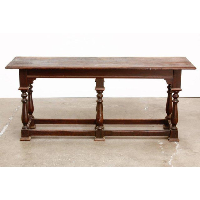 19th Century English Walnut Refectory or Console Table For Sale In San Francisco - Image 6 of 13