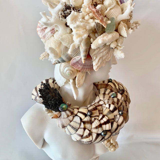 Contemporary God Apollo Encrusted With Shells Gemstones and Corals Sculpture For Sale - Image 3 of 7