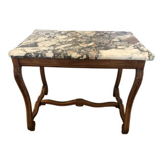 French Walnut and Marble Center Table Writing Desk For Sale