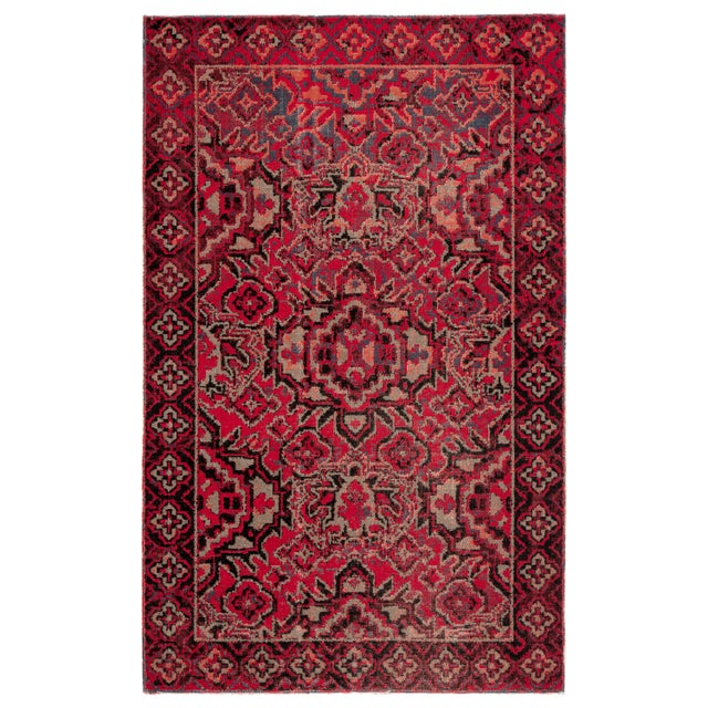 """Textile Jaipur Living Chaya Indoor Outdoor Medallion Red Black Area Rug 5'3""""X7'6"""" For Sale - Image 7 of 7"""