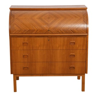 Danish Modern Rolltop Secretary Desk / Vanity / Dresser