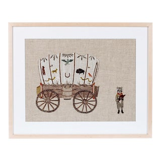 Wagon and Raccoon Framed Textile Art For Sale