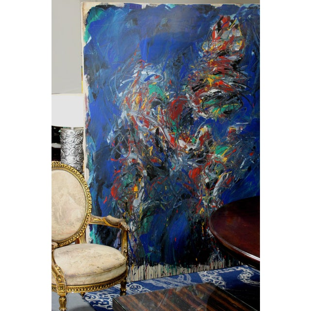 """Offered for sale is a large abstract oil on canvas titled """"Figure"""" signed Dehais and dated 1984. This large, colorful..."""