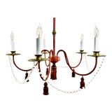 Image of Mid-Century Modern Red Painted Iron 5 Arm Chandelier For Sale