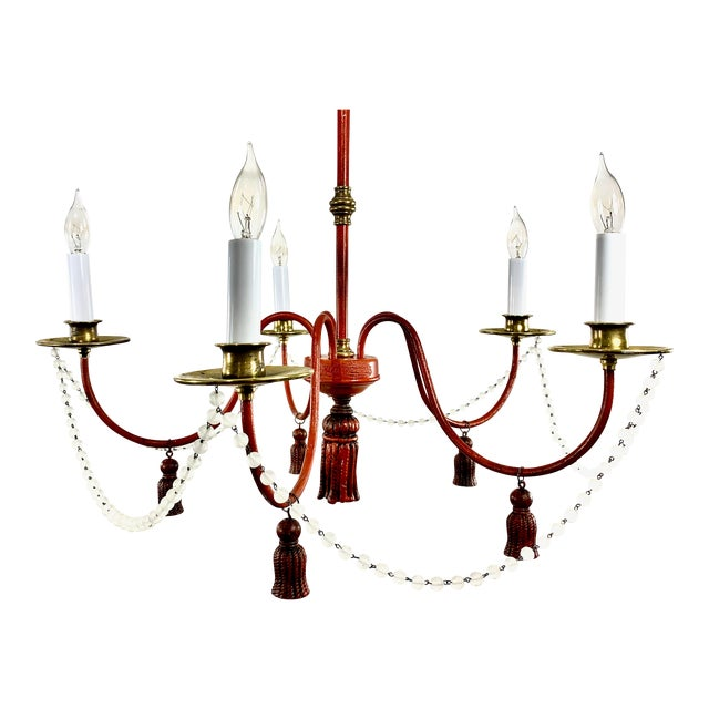 Mid-Century Modern Red Painted Iron 5 Arm Chandelier For Sale