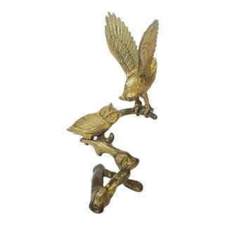 Vintage Brass Owls on Branch Sculpture For Sale