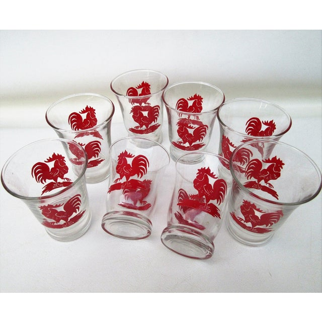 Libbey Rooster Juice Glasses - Set of 8 For Sale - Image 5 of 8