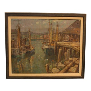 """1940s Traditional Painting, """"Westport Harbor"""" by W.F. Matthews"""