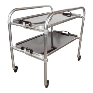 Art Deco Machine Age Bar Cart in Aluminium and Bakelite, American, circa 1935 For Sale