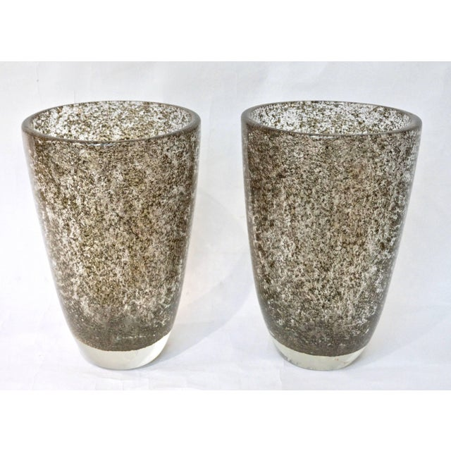Gold Alberto Dona Italian Bronze Color Murano Glass Vases With Brass Dust - a Pair For Sale - Image 8 of 11