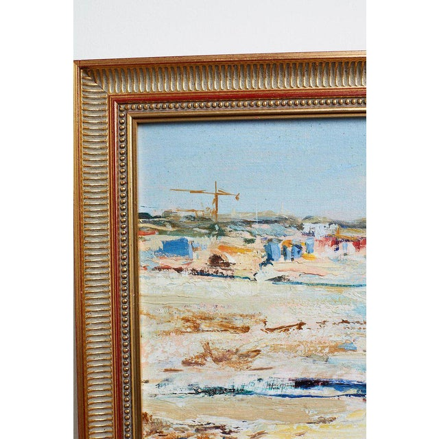 Mid Century T. Scola Coastal Painting Oil on Board For Sale - Image 11 of 13