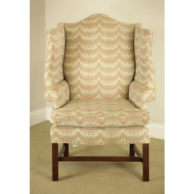 Carr & Company Chippendale Style Mahogany Wing Chair with Ottoman For Sale In Philadelphia - Image 6 of 12