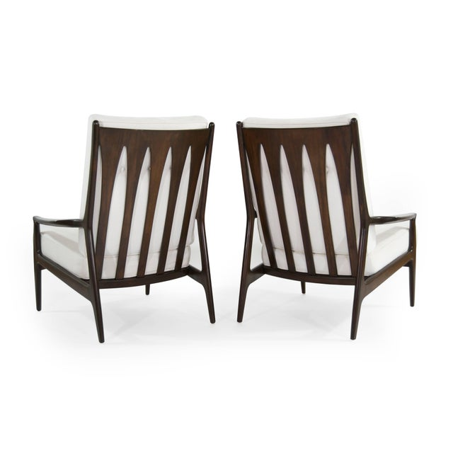 Milo Baughman for Thayer Coggin Milo Baughman for Thayer Coggin Walnut Archie Lounge Chairs For Sale - Image 4 of 11