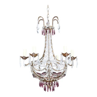 Italian Crystal Beaded Chandelier With Amethyst Glass Prisms For Sale