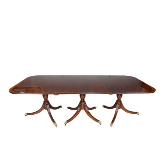 Antique Regency Style Mahogany Three Pedestal Dining Table For Sale