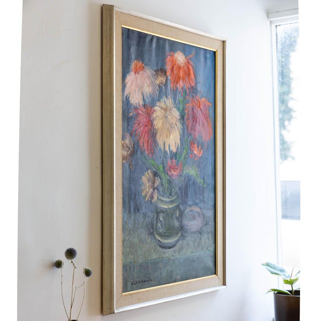 Lovely! 1962 signed still life oil painting of flowers! This oil painting is full of colorful flowers that compliments...