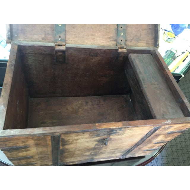 Antique Strong Box With Iron Straps For Sale - Image 4 of 8