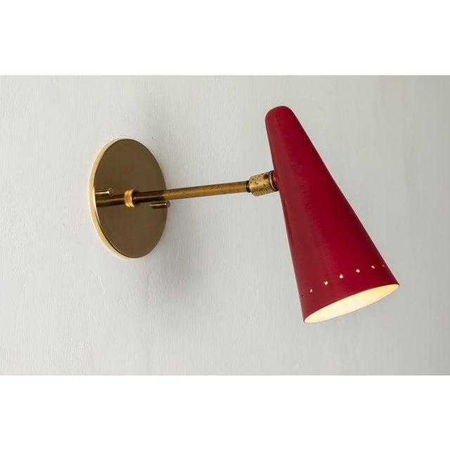 Stilux 1960s Stilux Articulating Red Cone Sconces For Sale - Image 4 of 13