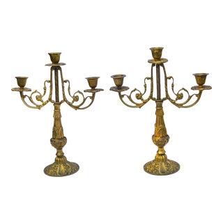 Vintage Brass Candleholders- S/2 For Sale
