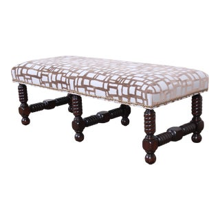 Contemporary Transitional Jacobean Revival Walnut Upholstered Bench For Sale