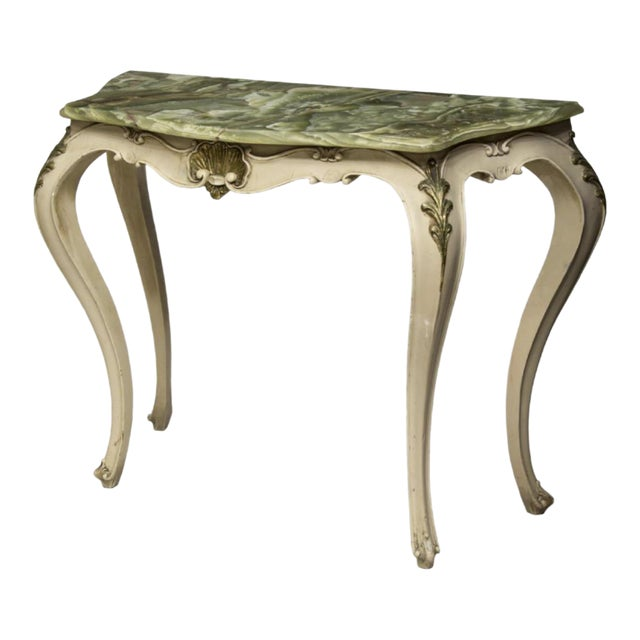 Vintage Italian Onyx Top Console Table For Sale