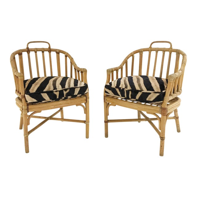 Forsyth Rattan Armchairs with Custom Zebra Hide Cushions - A Pair For Sale