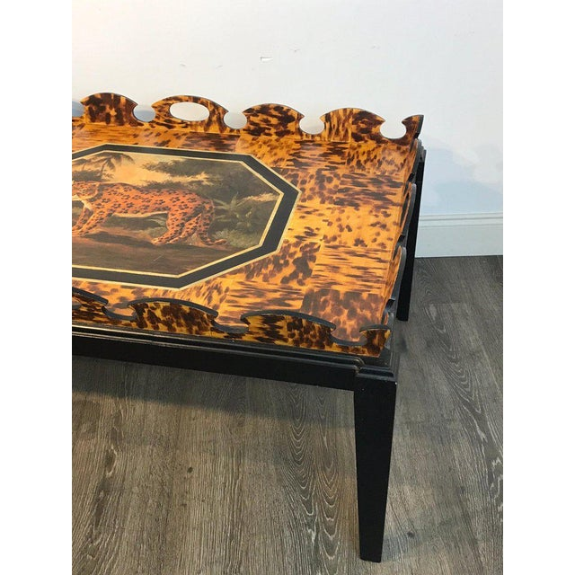 Brown Regency Style Tortoiseshell & Jaguar Motif Coffee Table by William Skilling For Sale - Image 8 of 11
