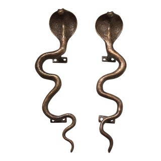 Hollywood Regency Brass Cobra Door Handles- a Pair For Sale