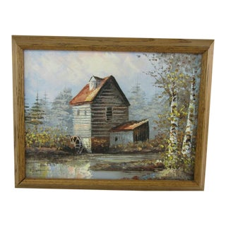 Late 20th Century Signed Water Wheel Painting For Sale