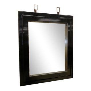 Baker Furniture Asian Modern Black Lacquered Mirror For Sale