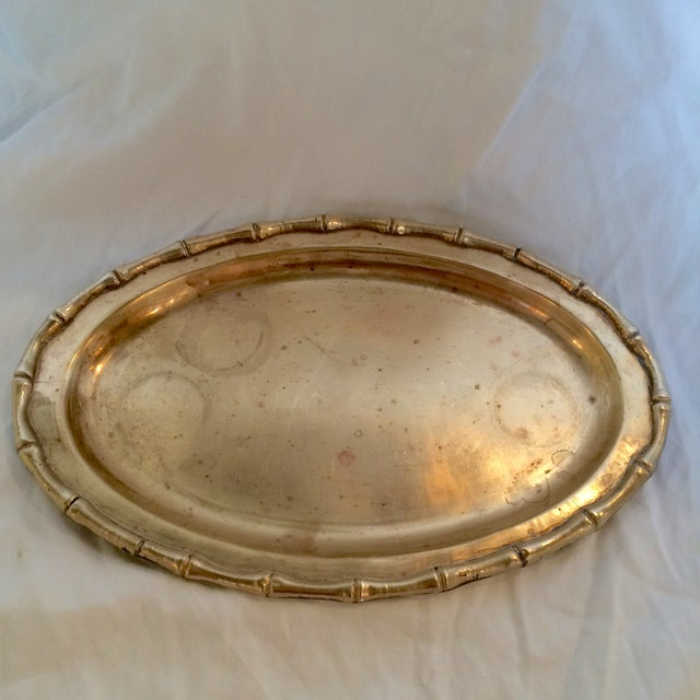 Small Faux Bamboo Trim Brass Tray - Image 4 of 6