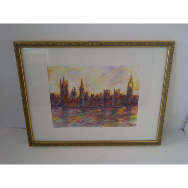 "Title: ""London #2"" Artist: J.E. Miller Date: Circa 1998 This original painting by J.E. Miller is from the ""Out of the Blue..."