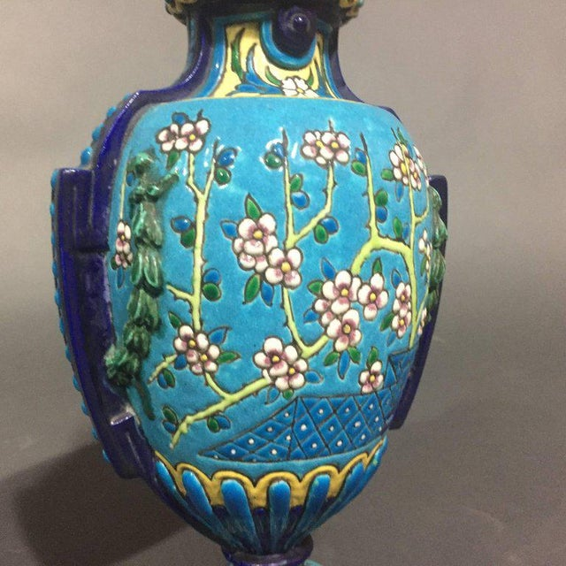 Pair of Emaux de Longwy Attributed Floral Enameled Vases, France For Sale - Image 4 of 10