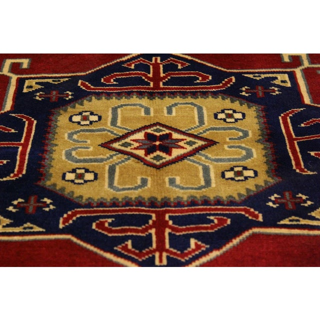 Sherwan James Red/Ivory Wool Rug - 4'1 X 5'10 For Sale In New York - Image 6 of 8