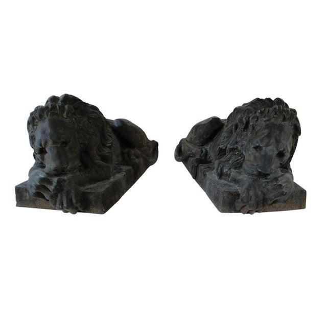 Antique Bronze Lion Sculptures - A Pair - Image 1 of 9