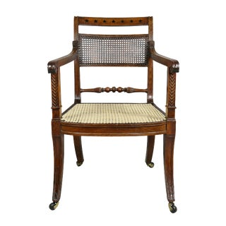 Regency Mahogany and Ebony Inlaid Armchair For Sale