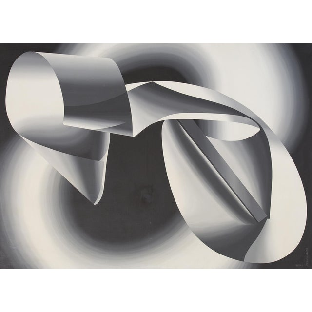 Fydryck draws our attention to the power of creation. The foreground, dominated by a white-black gradient form, is an...