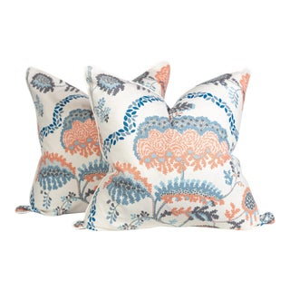 Ivory and Blush Peony Floral Linen Pillows, a Pair For Sale
