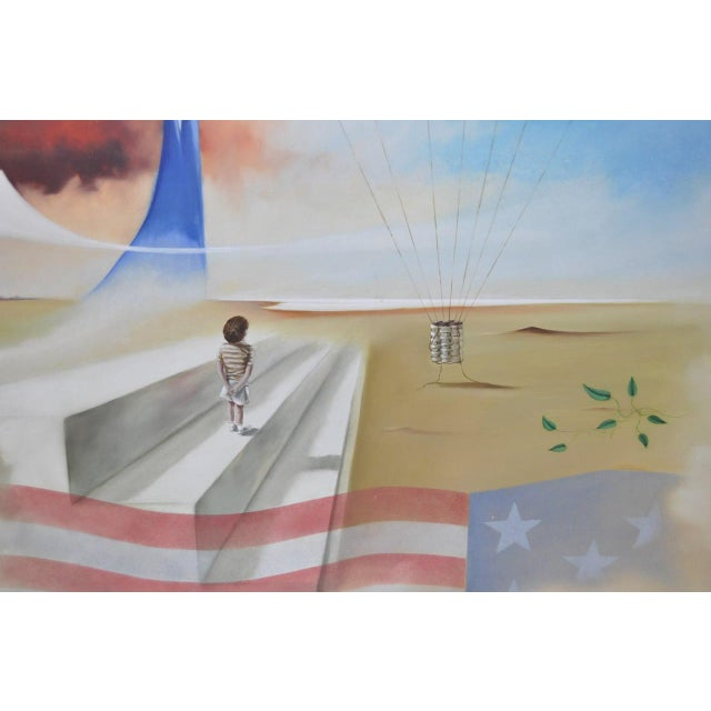 Surrealism Carlo Wahlbeck Surreal Landscape Painting c.1970 For Sale - Image 3 of 8