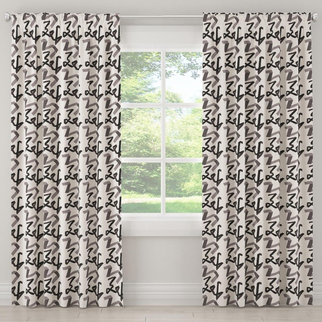 "Contemporary 84"" Blackout Curtain in Black Ribbon by Angela Chrusciaki Blehm for Chairish For Sale - Image 3 of 8"