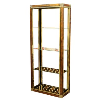 Mid Century Modern Mastercraft Brass & Glass Etagere Shelving Unit 1970s 3 Shelf For Sale